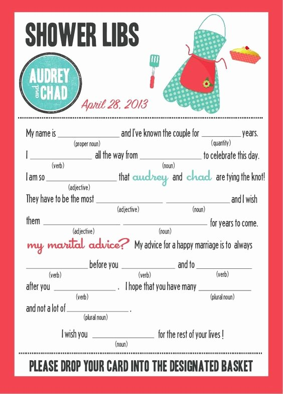 "Wedding Shower Mad Lib Template Best Of Mad Libs Bridal Shower Edition ""kitchen Party"""