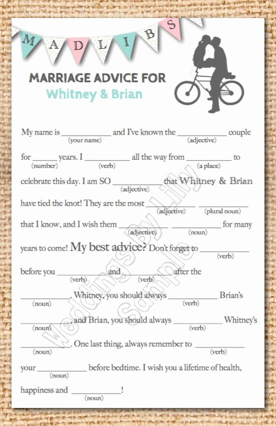 Wedding Shower Mad Lib Template Best Of Wedding Mad Libs Printable