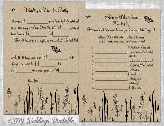 Wedding Shower Mad Lib Template Best Of Wedding Mad Libs Template Printable Rustic Diy butterfly