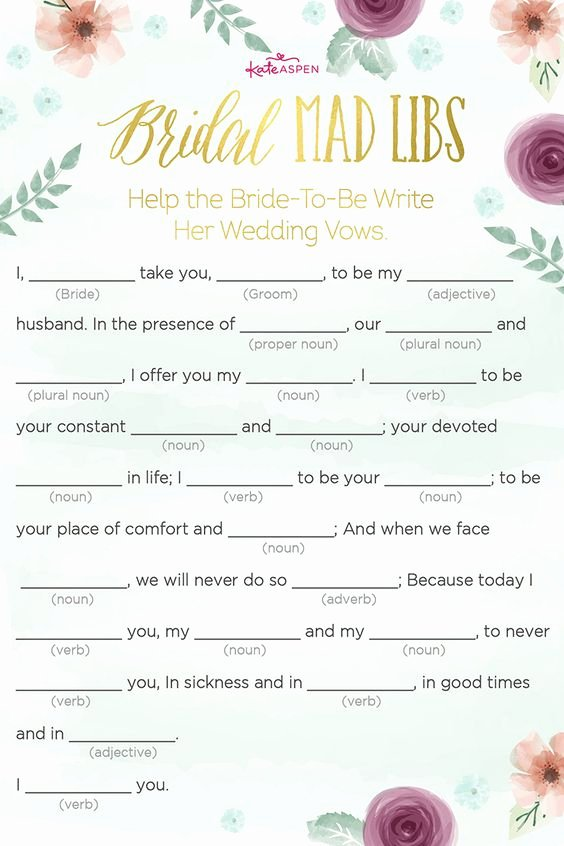 Wedding Shower Mad Lib Template Elegant 5 Bridal Shower Games the Bride Will Definitely Love