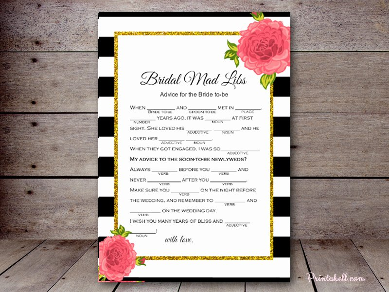 Wedding Shower Mad Lib Template Elegant Bridal Mad Libs – Printabell • Create