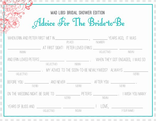 Wedding Shower Mad Lib Template Elegant Bridal Shower Invitations Bridal Shower Mad Libs Collected