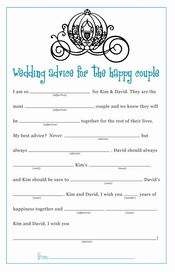 Wedding Shower Mad Lib Template Inspirational Cinderella Princess Bridal Shower Wedding Mad Lib