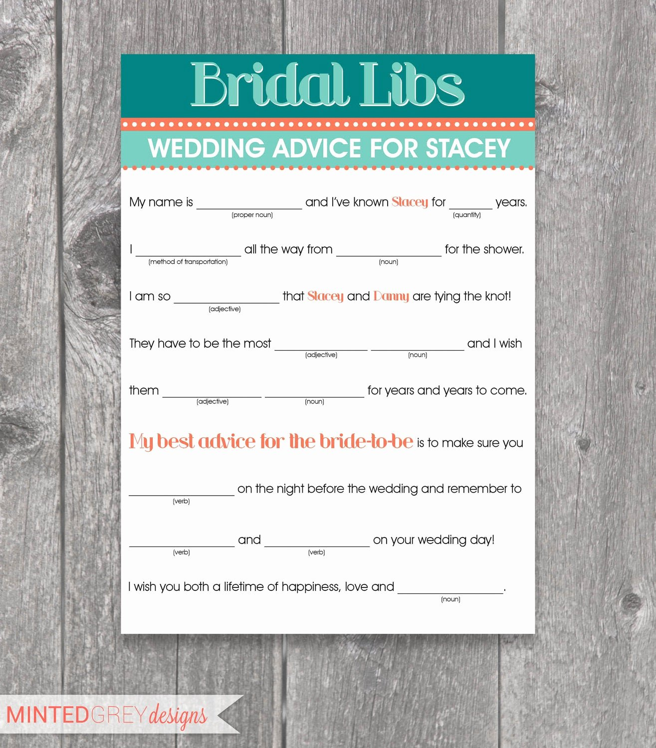 Wedding Shower Mad Lib Template Inspirational Printable Bridal Libs Mad Libs Bridal Shower Game