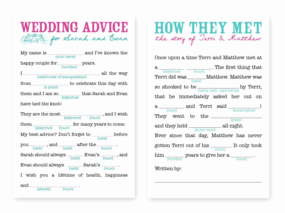 Wedding Shower Mad Lib Template Inspirational Wedding Mad Libs