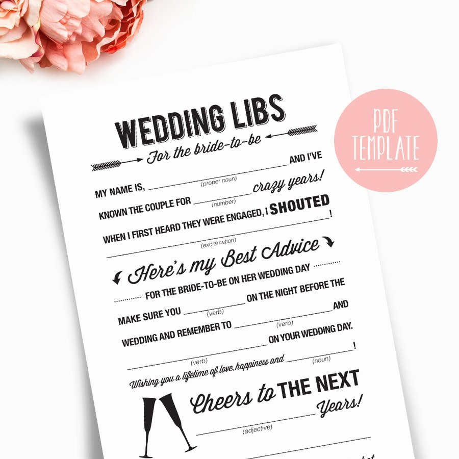 Wedding Shower Mad Lib Template Inspirational Wedding Shower Mad Libs Printable Template Kraft Sign Card
