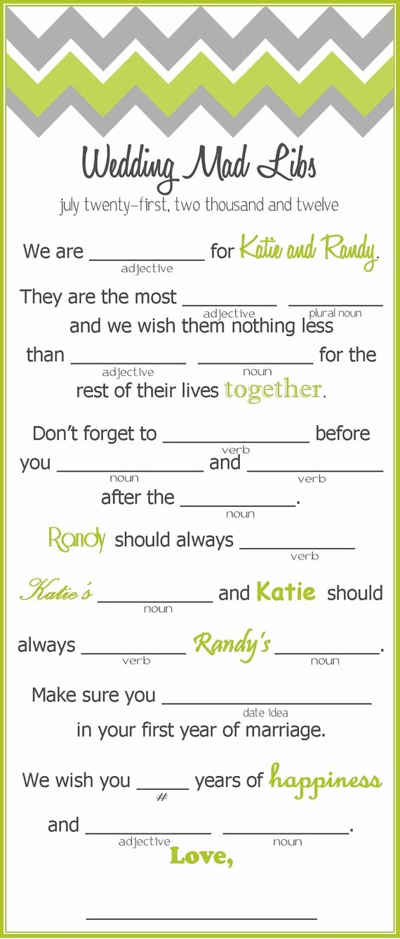 Wedding Shower Mad Lib Template Luxury Chevron Wedding Inspiration