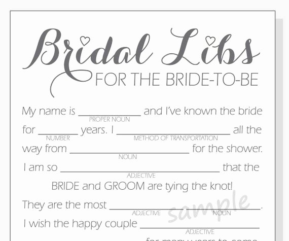 Wedding Shower Mad Lib Template Luxury Diy Bridal Shower Mad Libs Game Printable Cards Clear
