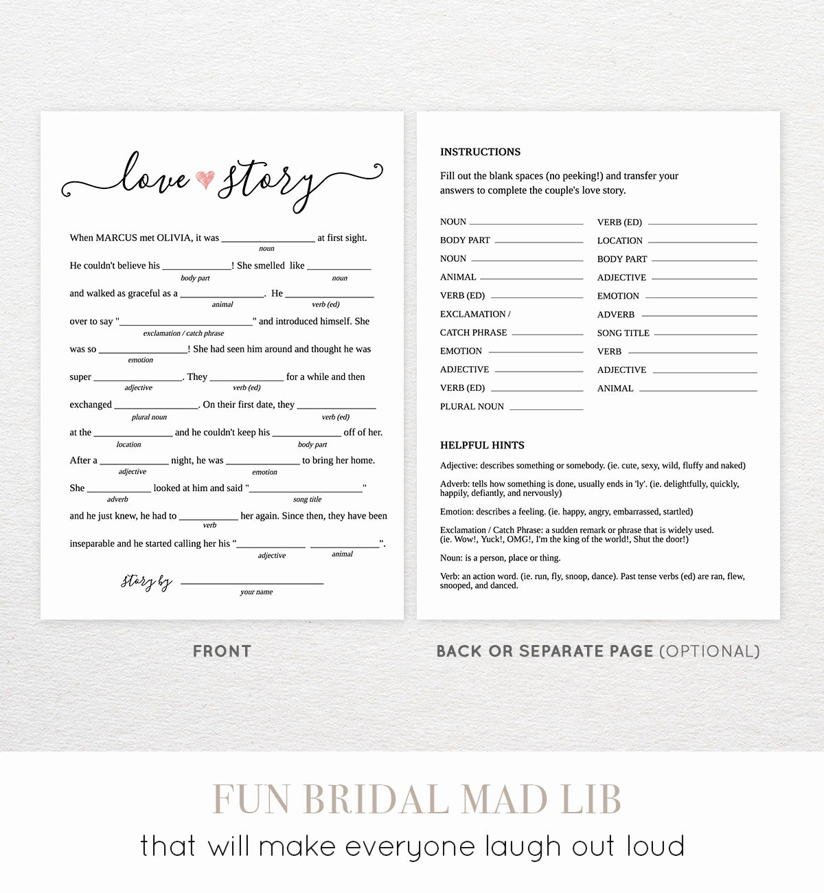 Wedding Shower Mad Lib Template Unique Bridal Shower Mad Libs Printable