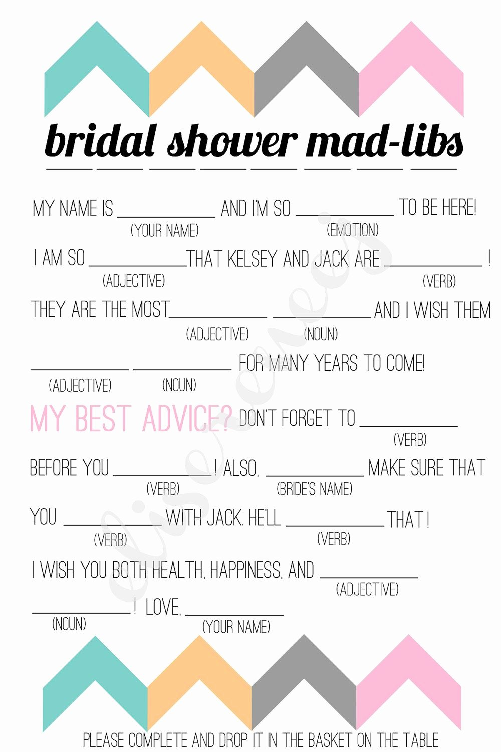 Wedding Shower Mad Lib Template Unique Free Bachelorette Party Mad Libs