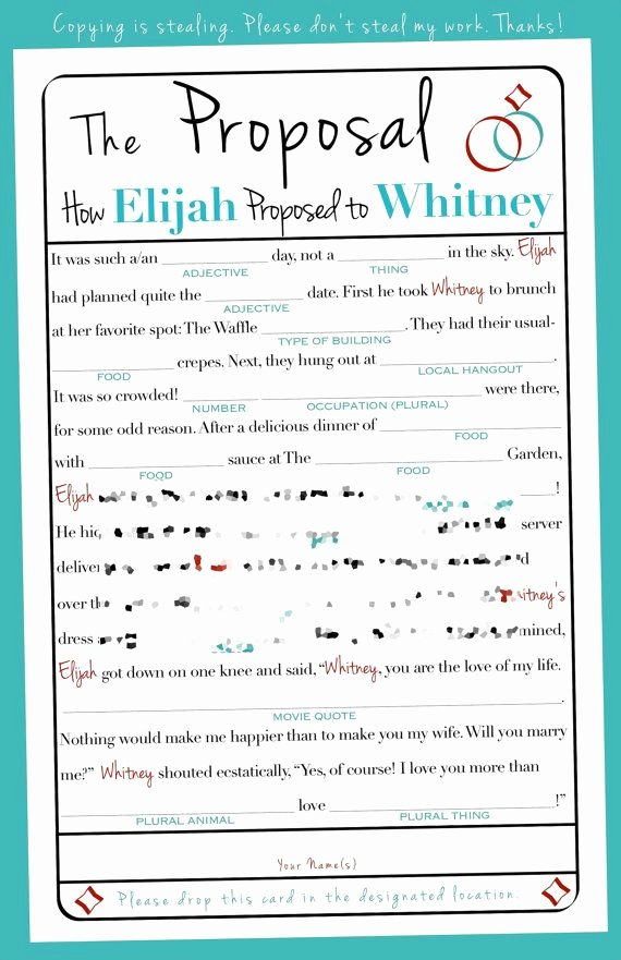 Wedding Shower Mad Lib Template Unique Proposal Mad Libs Wedding Bachelorette Bridal Shower