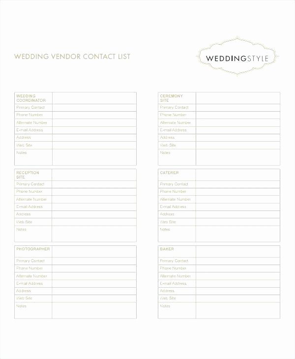 Wedding Vendor Contact List Template Awesome Wedding Contact List Template – Umbrello