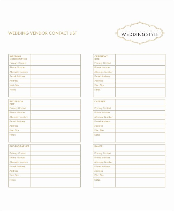 Wedding Vendor Contact List Template Inspirational 8 Vendor List Templates Pdf Doc