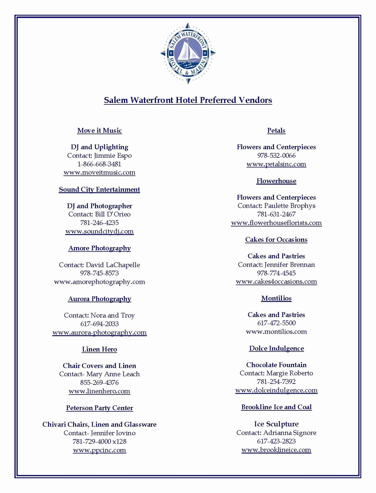 Wedding Vendor Contact List Template Lovely Preferred Vendor Information