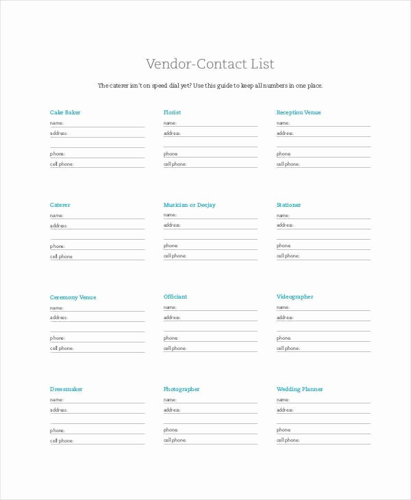 Wedding Vendor Contact List Template New Vendor List Templates 9 Examples In Word Pdf