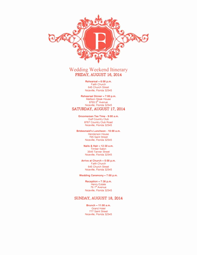 Wedding Weekend Itinerary Template Free Beautiful Wedding Itinerary Template Free Download Edit Create