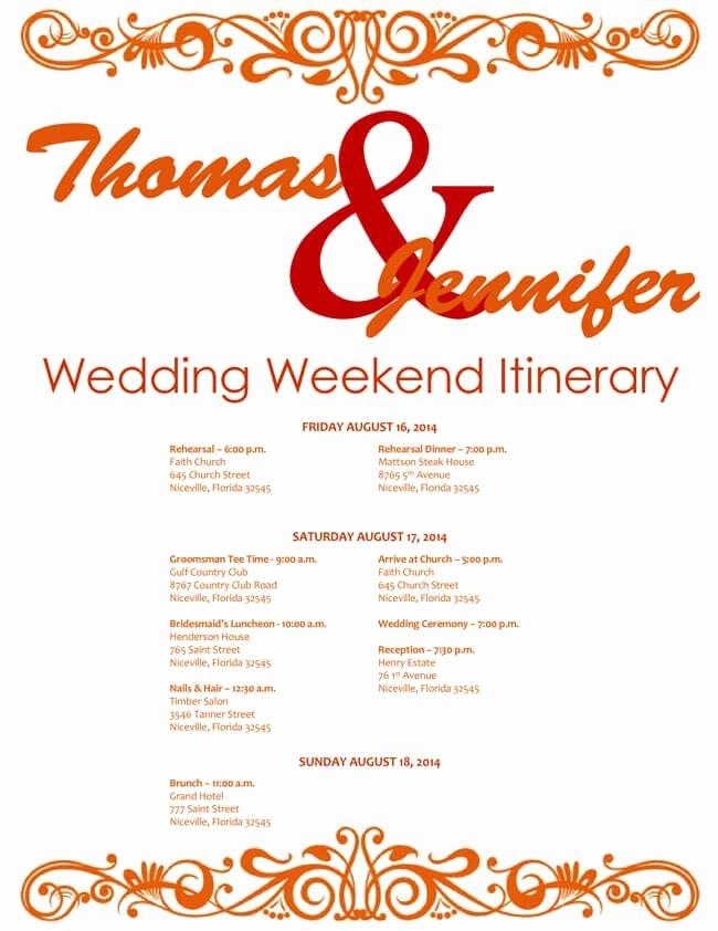 Wedding Weekend Itinerary Template Free Inspirational 6 Free Wedding Itinerary Templates for Word and Excel