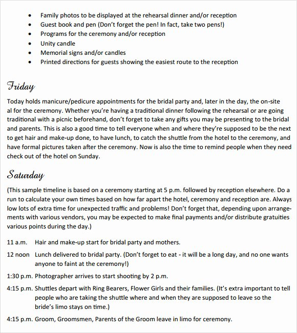 Wedding Weekend Itinerary Template Free Luxury Sample Wedding Weekend Itinerary Template 12 Documents