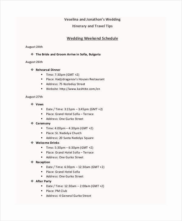 Wedding Weekend Itinerary Template Free Unique 7 Wedding Itinerary Template Free Sample Example