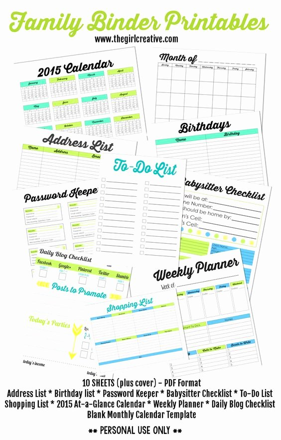 Week at A Glance Templates Best Of Family Binder Printables