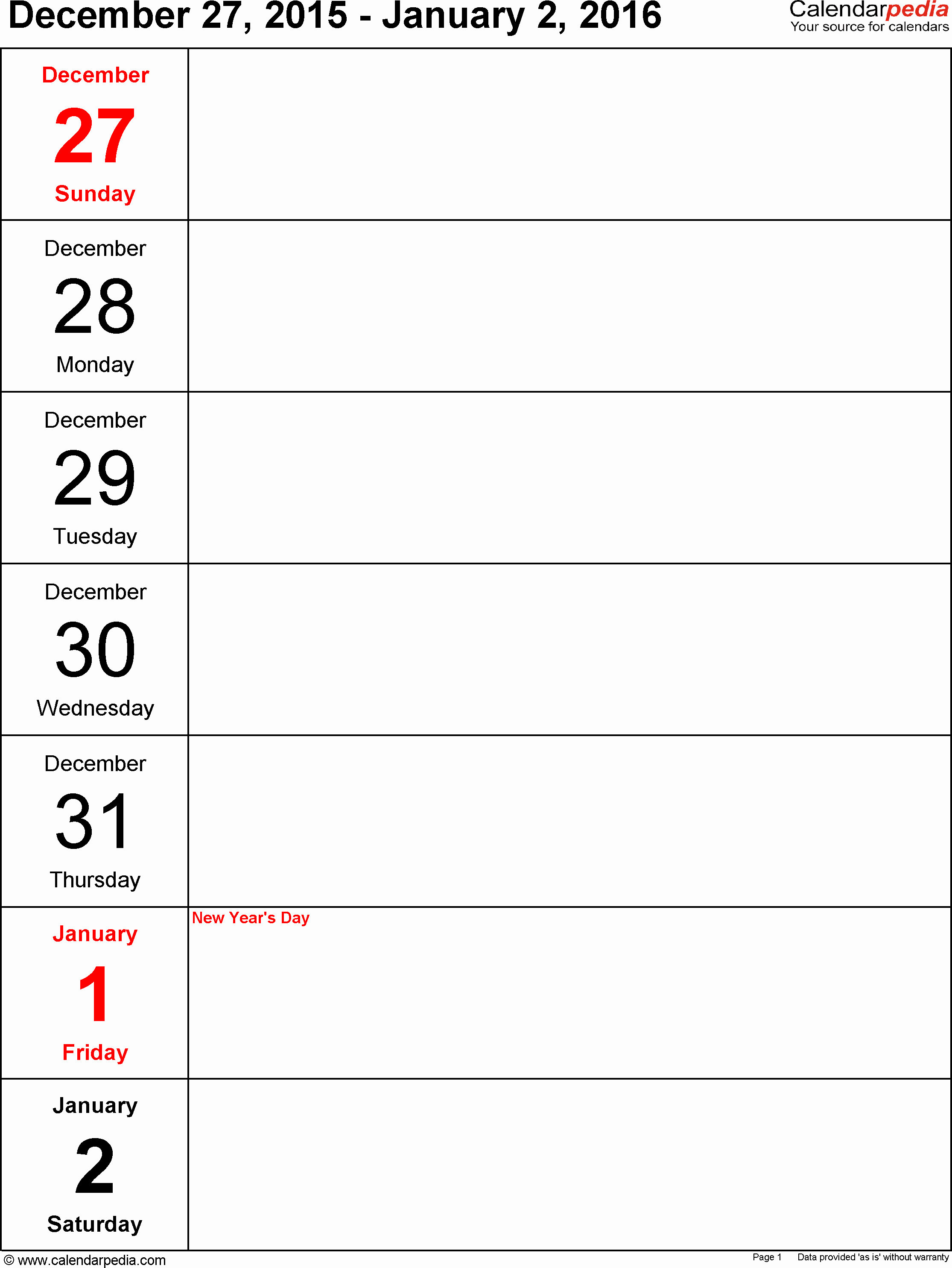 Week at A Glance Templates Best Of Free Printable Week at A Glance Calendar