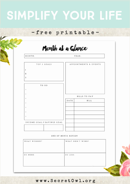 Week at A Glance Templates Fresh Free Printable Month at A Glance