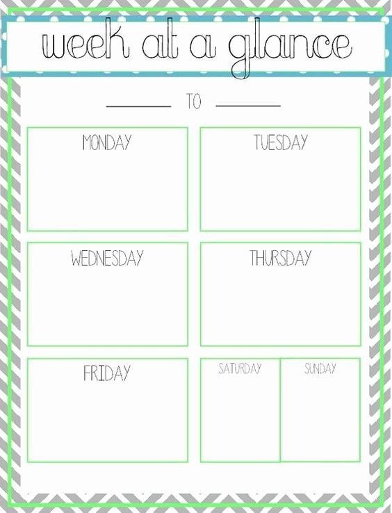 Week at A Glance Templates Fresh Week at A Glance Printable Fice Ideas
