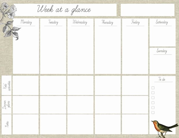 """Week at A Glance Templates Lovely Oh the Lovely Things Free Printable """"week at A Glance"""