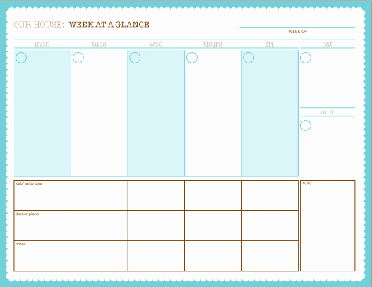Week at A Glance Templates Unique Week at A Glance Free Printable