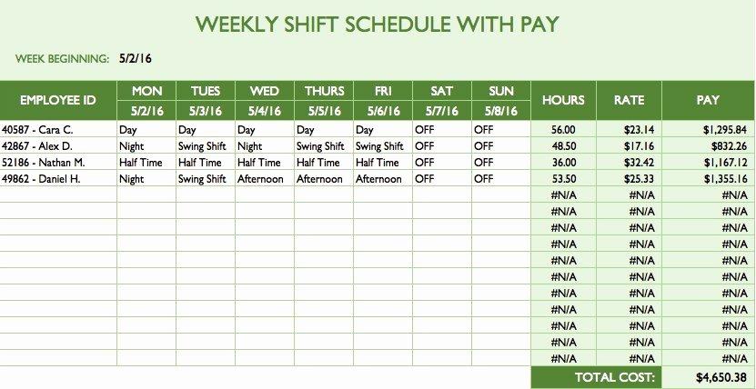 Week Schedule Template Excel Elegant Free Work Schedule Templates for Word and Excel