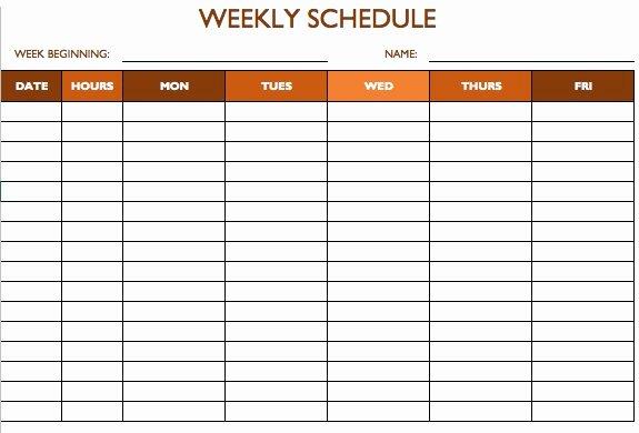 Week Schedule Template Excel Fresh Free Work Schedule Templates for Word and Excel