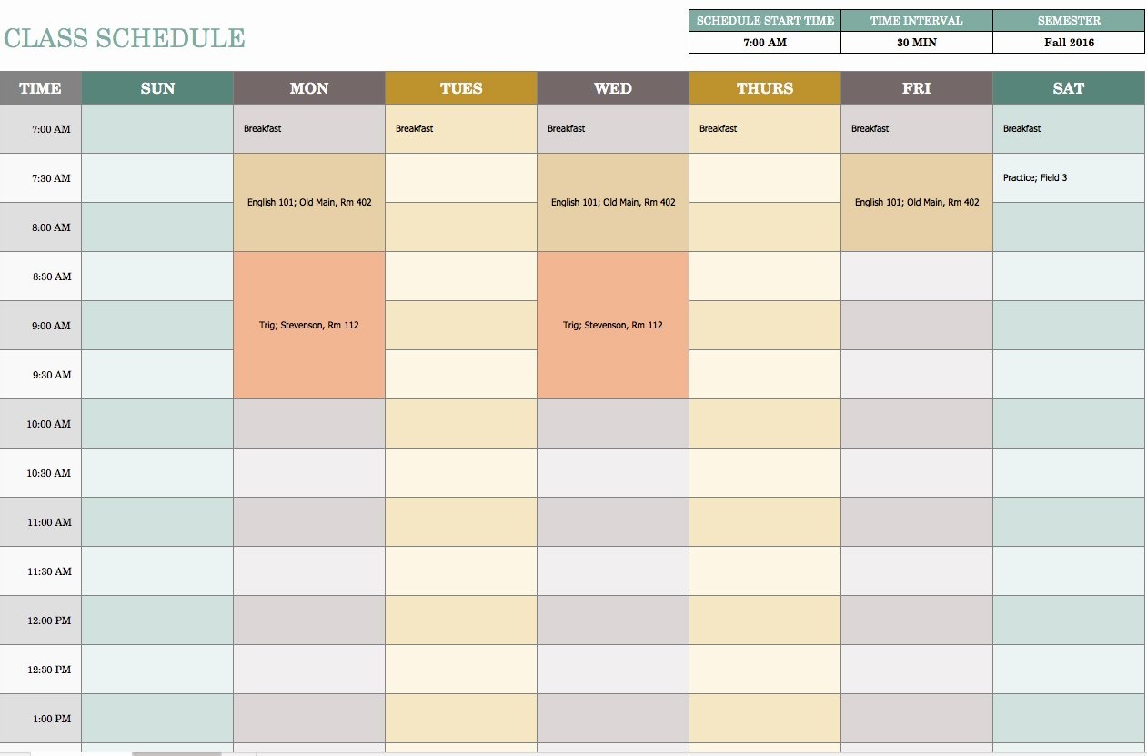 Week Schedule Template Excel Inspirational Free Weekly Schedule Templates for Excel Smartsheet