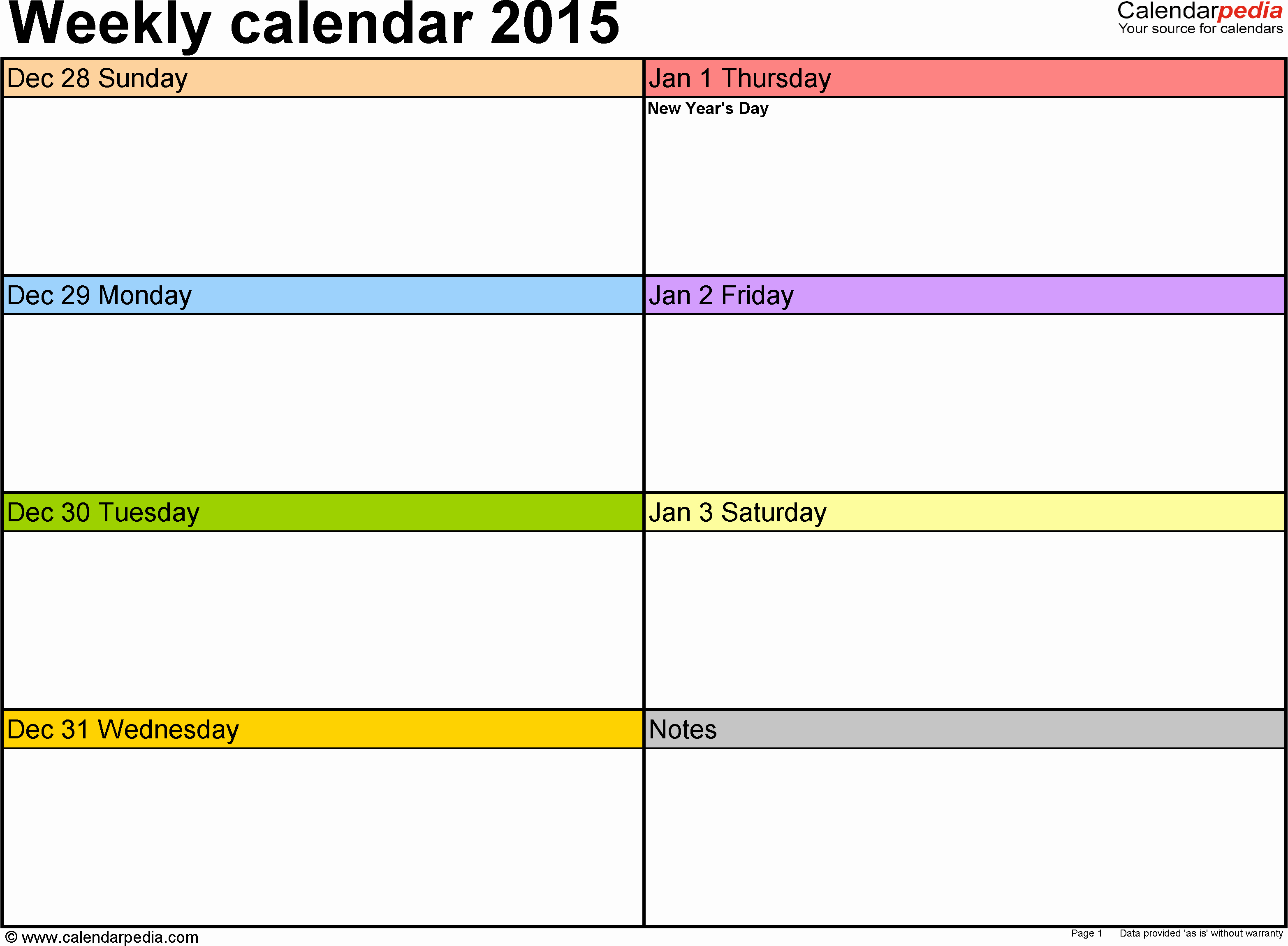 Week Schedule Template Excel New Weekly Calendar 2015 for Excel 12 Free Printable Templates