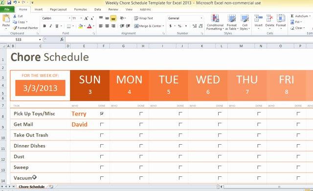Week Schedule Template Excel Unique Weekly Chore Schedule Template for Excel 2013