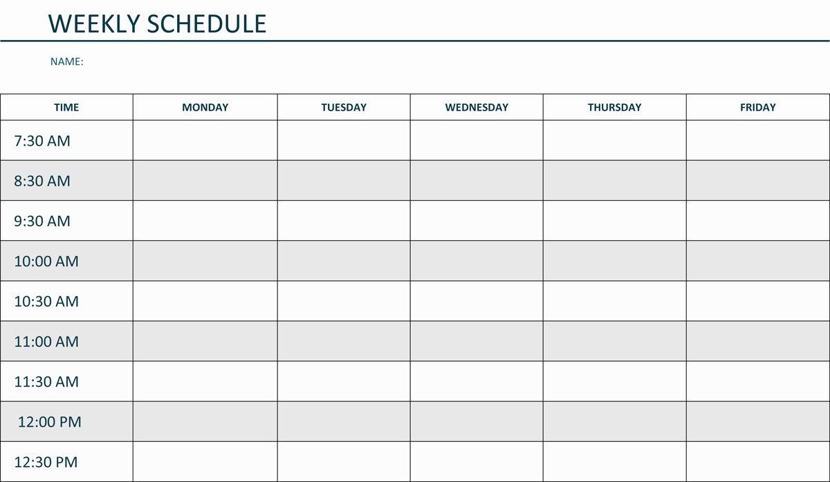 Week Schedule Template Word Elegant Weekly Lesson Plan Template Pdf