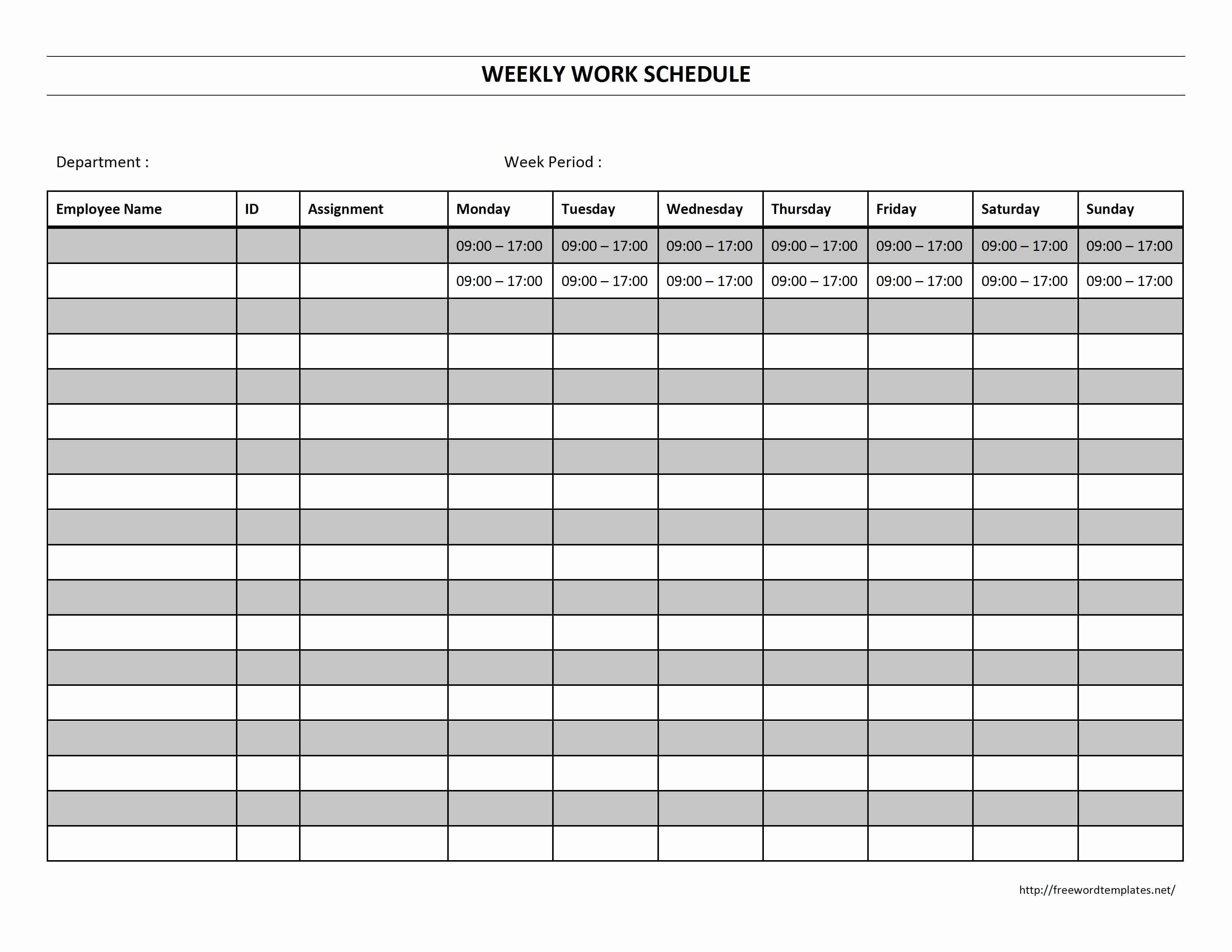 Week Schedule Template Word Fresh Weekly Work Schedule