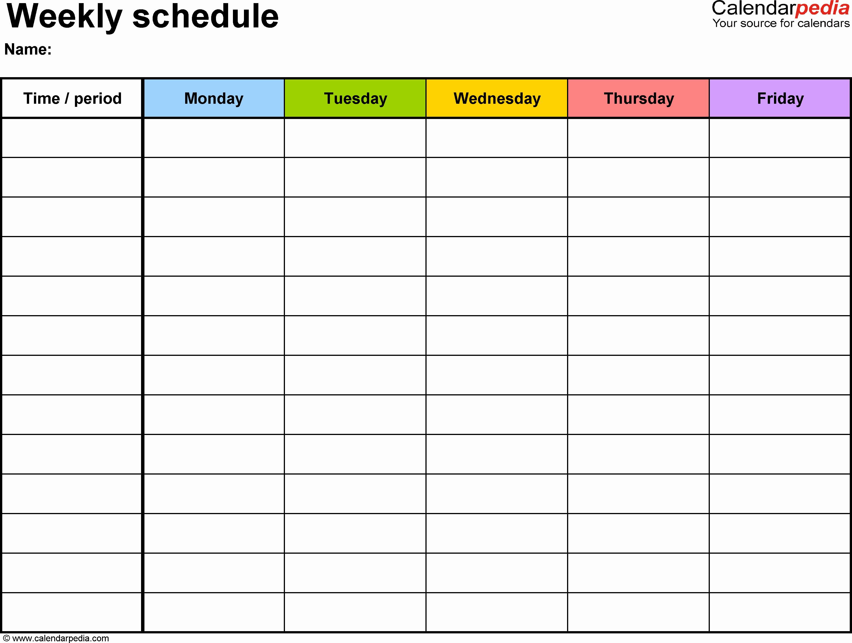 Week Schedule Template Word Lovely Free Weekly Schedule Templates for Word 18 Templates