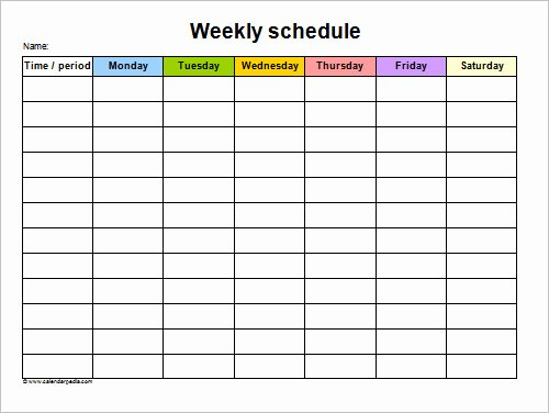 Week Schedule Template Word New Sample Schedule 11 Documents In Word Excel Pdf