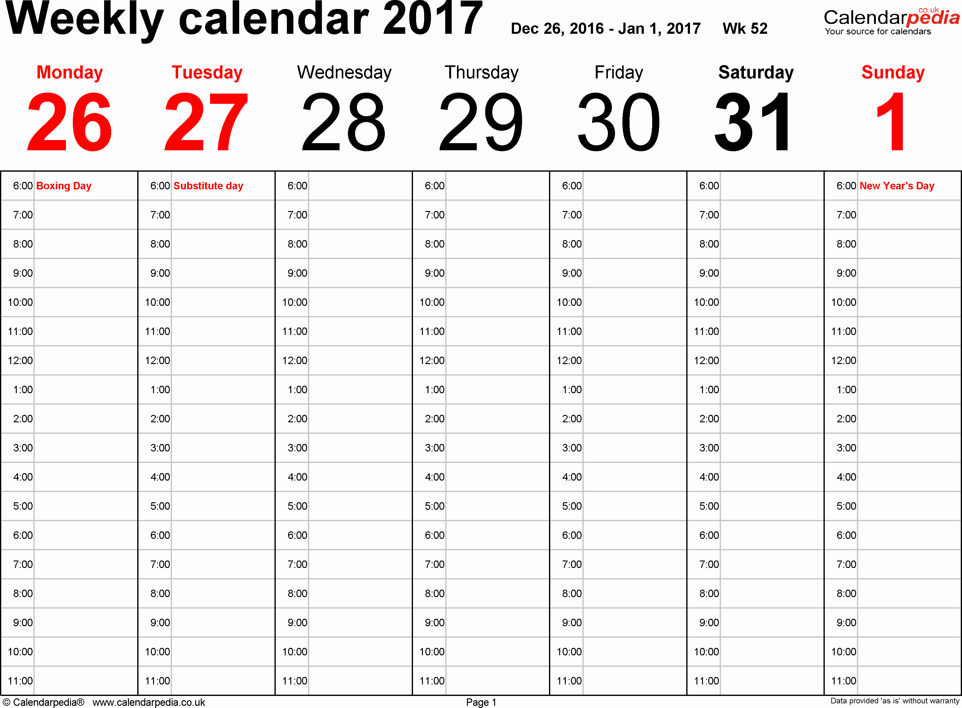 Weekly Calendar Template 2017 Awesome Weekly Calendar 2017 Uk Free Printable Templates for Excel