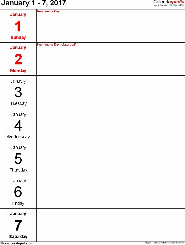 Weekly Calendar Template 2017 Fresh Weekly Calendar 2017 for Pdf 12 Free Printable Templates