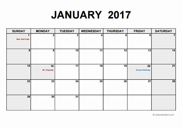 Weekly Calendar Template 2017 Inspirational 2017 Monthly Calendar Pdf Free Printable Templates