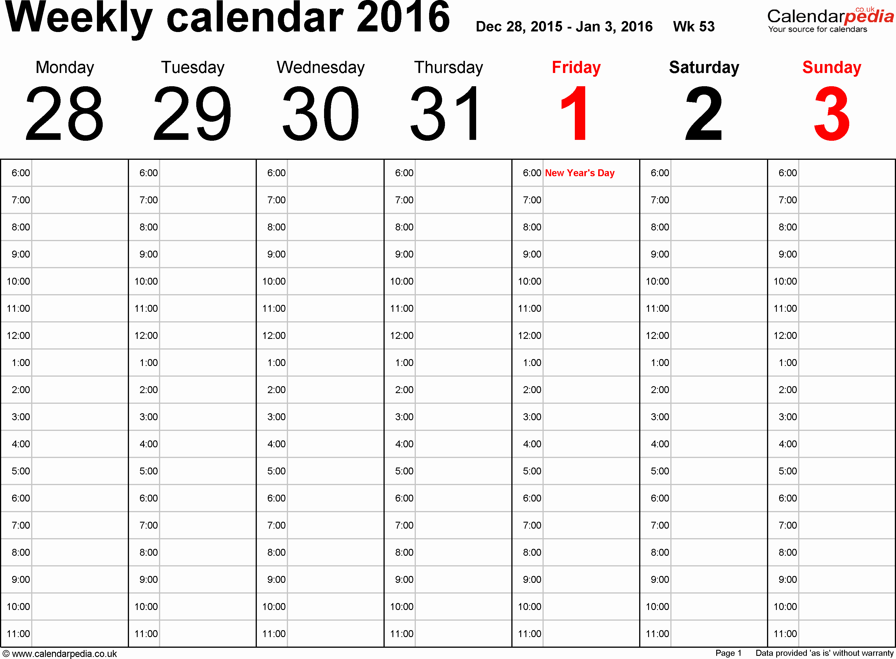 Weekly Calendar Template 2017 Inspirational Weekly Calendar 2016 Uk Free Printable Templates for Excel