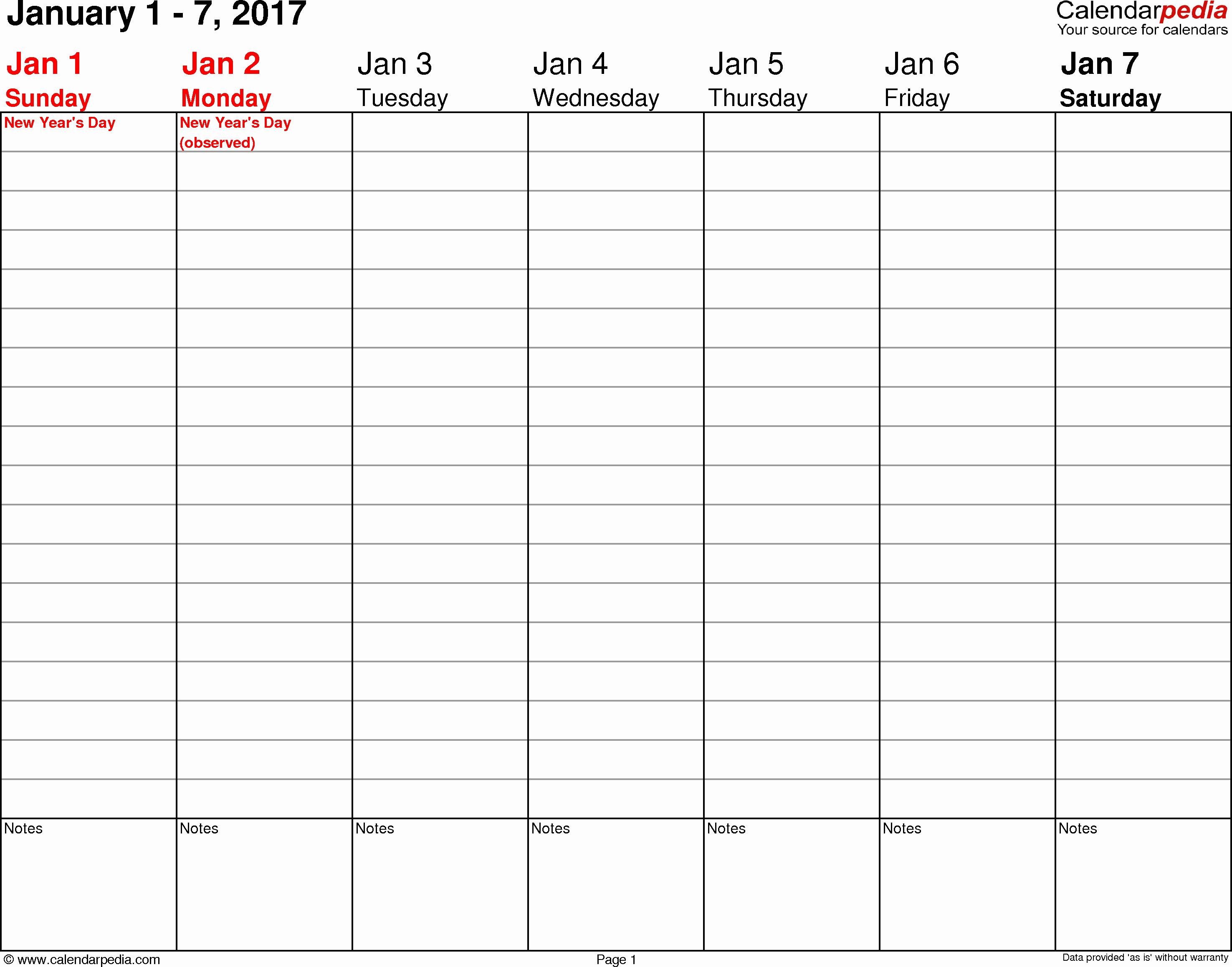 Weekly Calendar Template 2017 Inspirational Weekly Calendar 2017 for Pdf 12 Free Printable Templates