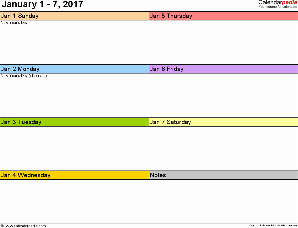 Weekly Calendar Template 2017 Lovely Weekly Calendar 2017 for Word 12 Free Printable Templates