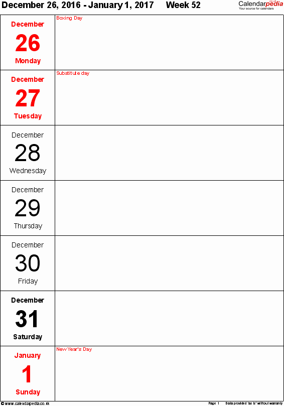 Weekly Calendar Template 2017 New Weekly Calendar 2017 Uk Free Printable Templates for Pdf
