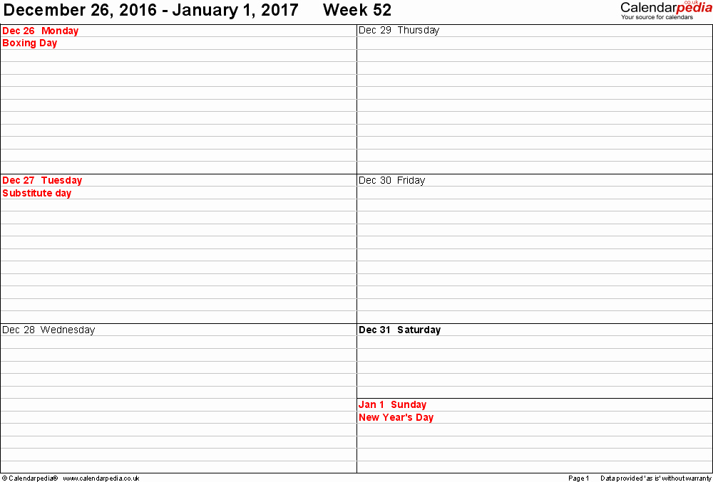 Weekly Calendar Template 2017 New Weekly Calendar 2017 Uk Free Printable Templates for Word
