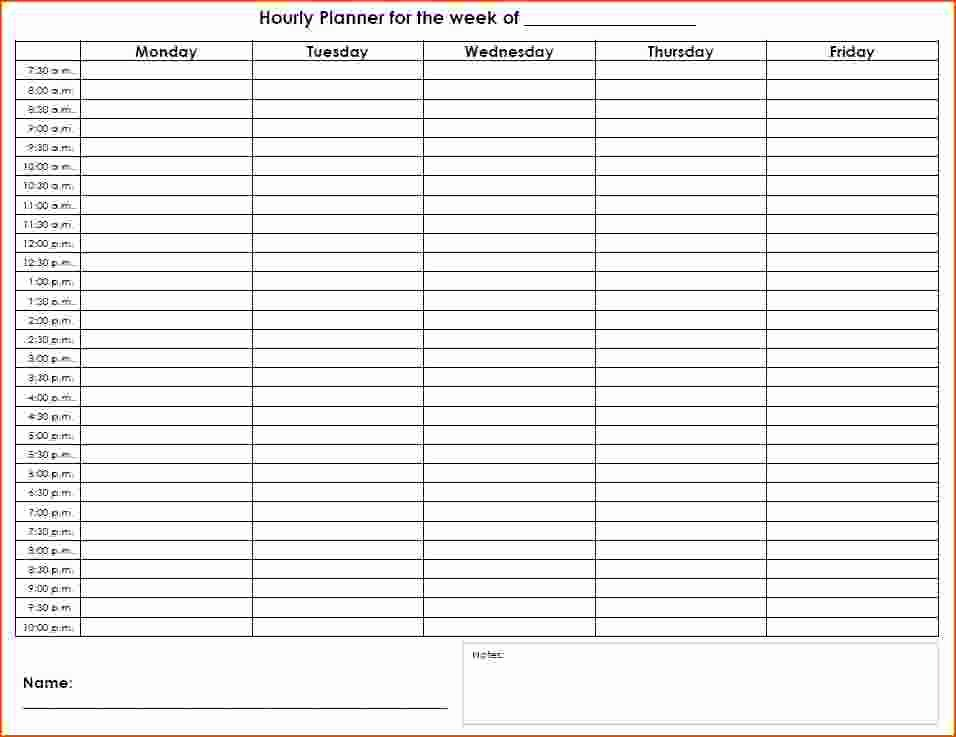 Weekly Hourly Planner Template Beautiful 7 Weekly Hourly Planner Bookletemplate