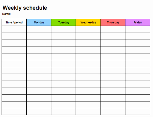 Weekly Hourly Planner Template New 5 Free Weekly Planner Templates