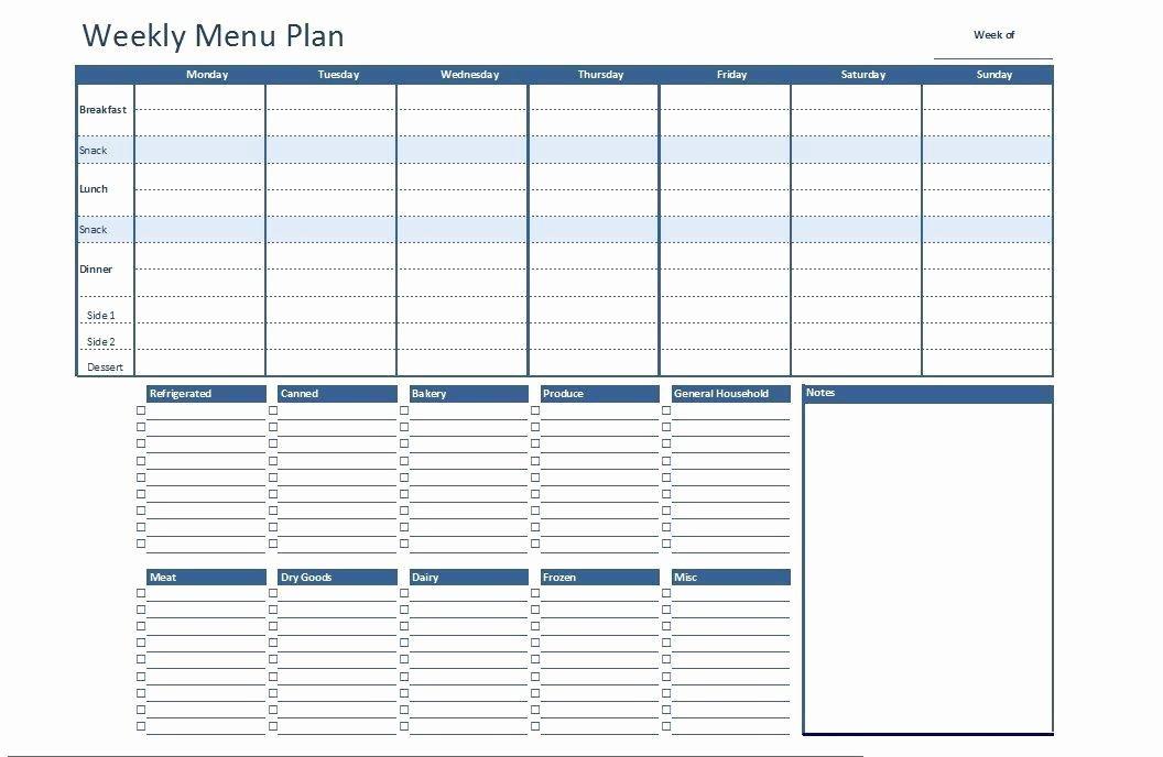 Weekly Meal Planner Template Word Best Of Free Excel Weekly Menu Plan Template Dowload