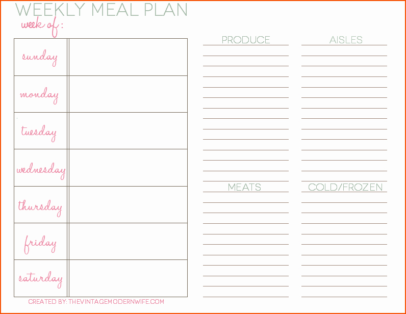 Weekly Meal Planner Template Word Elegant 8 Weekly Meal Planner Template Bookletemplate